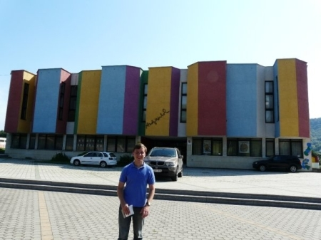 Standing outside the colorful Warhol museum in Medzilaborce, Slovakia.  Photo: William Schreiber